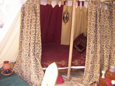 Our double bed inside the tent