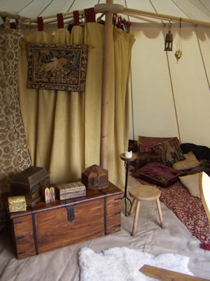 The living room in the tent