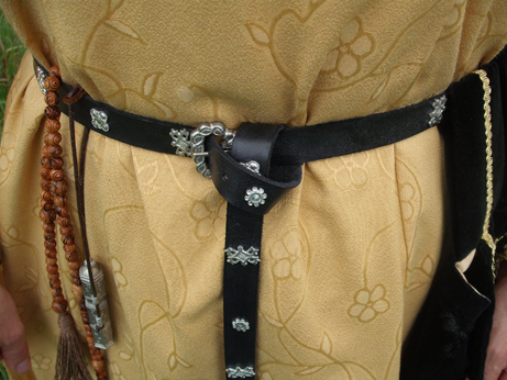 Black leather belt with cast pewter embellishments