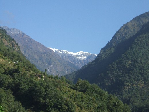 Our first sight of snow capped mountains
