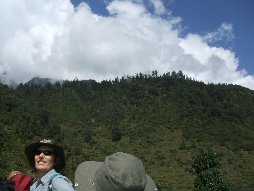Arriving at the foot of the village - it's up there in the clouds !