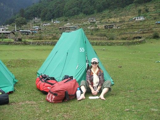 Me outside my home for the next two weeks - tent 55 Melamchigayon village