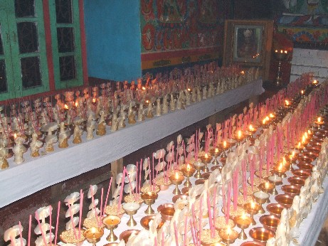 1000 butter lamps in the village monastery