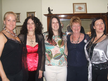 Some of the girls from the medieval group all looking very glam at the aprty