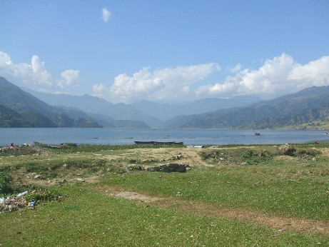 The view from the lakeside at Pokhara