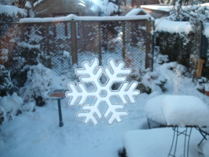 A close up of one of the snowflake motifs