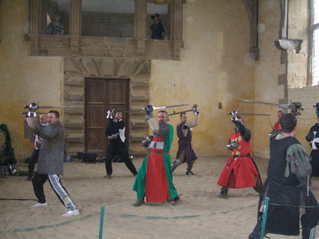 Sword training at Bolsover Castle - Cameron in red and green, De La Zouche in red with yellow spots