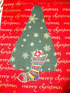 Detail of the tree with the stocking