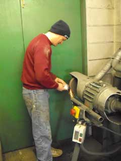 Dave making sparks fly with the grinding wheel