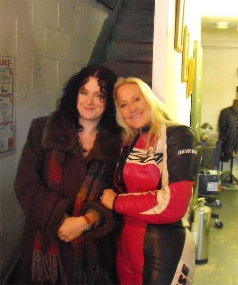 Bev and I looking babelicious in the workshop