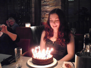 The candles spell happy birthday