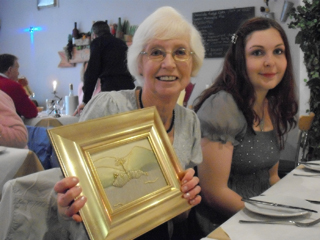Mum with Ellen's goldwork picture present