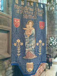 A banner which had been restored by the church embroiderers