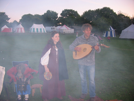 Smoke gets in your eyes .... Darryl with his lute and Ellie on tambourine