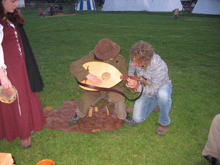 Jake trying out the lute