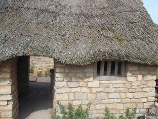 Close up of one of the village houses