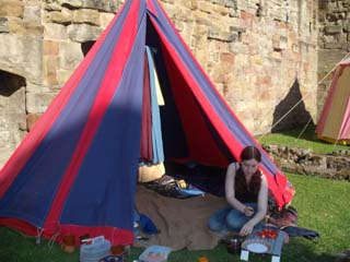 Our little medieval tent in the evening sunshine