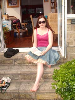 Ellie revising in the sun