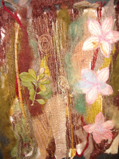 A development piece with machine stitching and applique