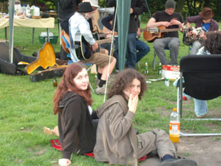 Ellie and Jake chilling out to the band
