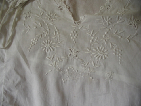Whitework detail on the nightgown