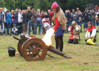 Bucket making the cannon go BOOM!