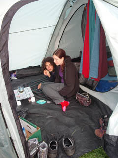 Kids mellowing in the tent