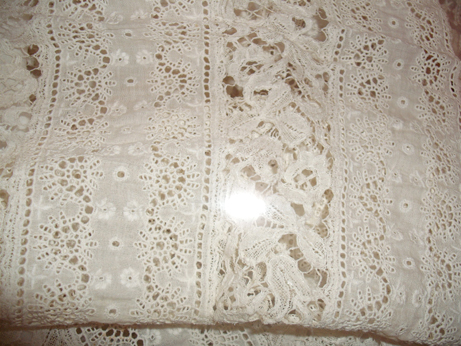 The whitework detail on the Jenner Family christening robes