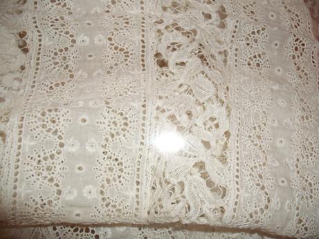 The whitework detail on the Jenner Family christening robes