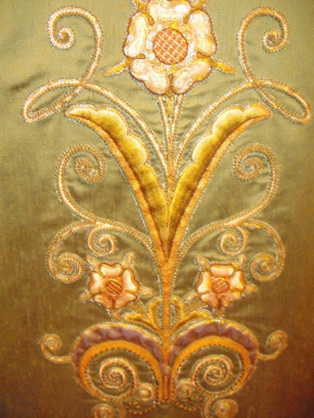 A tudor rose motif on an altar frontal