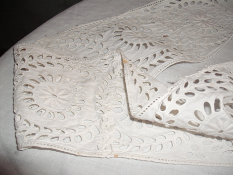 Whitework from the Plas Mawr attic which was furnished as it would have been in the 1870s