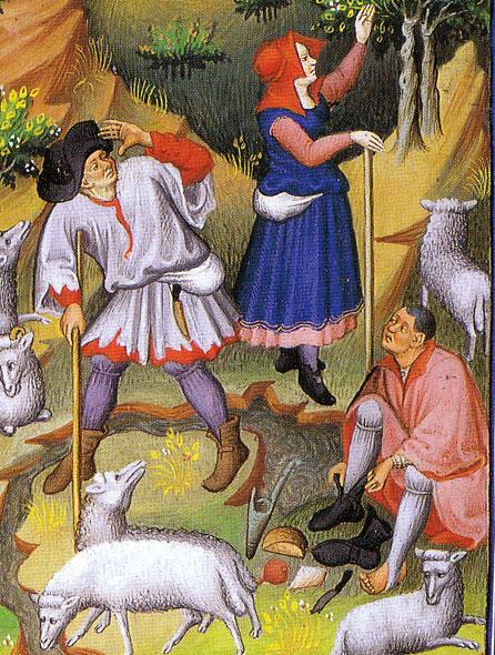 Image dated 1430 showing men's kirtles