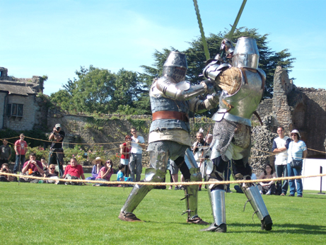Keith (in the blue jacket) and Carl battling with hand and a half swords