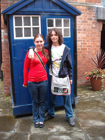The kids outside the old Police box - make your own Tardis noises!