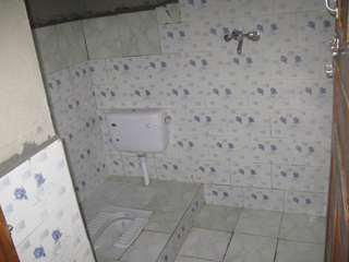 The shower and toilet - behind these tiles lay my carefully laid stones and mud mortar!