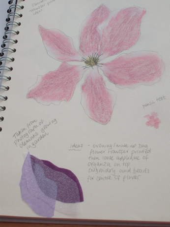 The drawing of the clematis with my ideas for layering with organza
