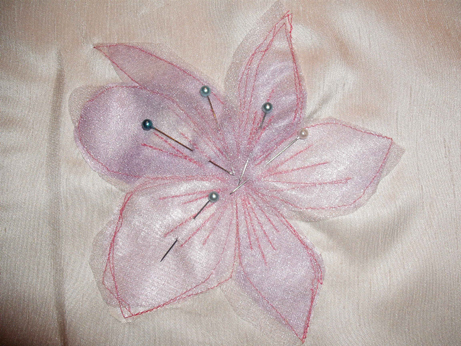 The organza petals pinned in place