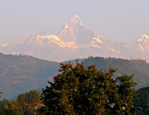 View from Fishtail Lodge Pohkara