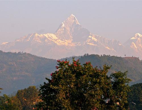 View from Fishtail Lodge Pohkara