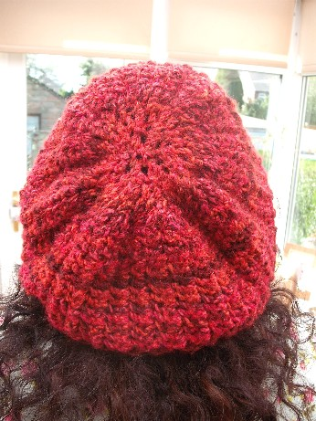 Red chunky hat modelled