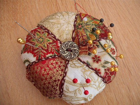 pincushion - medieval fabric