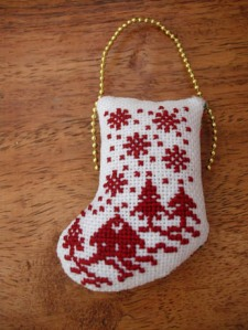 cross stitch mini xmas ornie 2