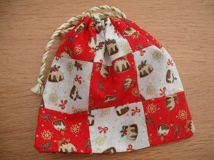 xmas ornies nine patch bag