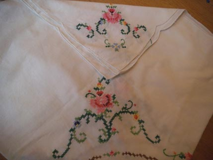 Cross stitch table cloth Feb 1