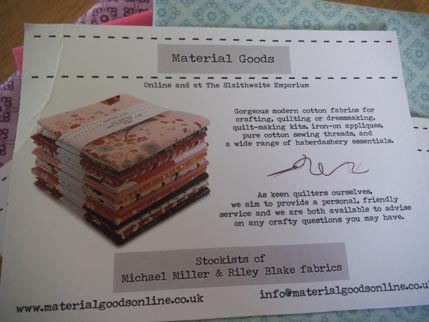 Material goods card