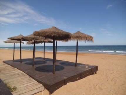 Spain March beach umbrellas 1