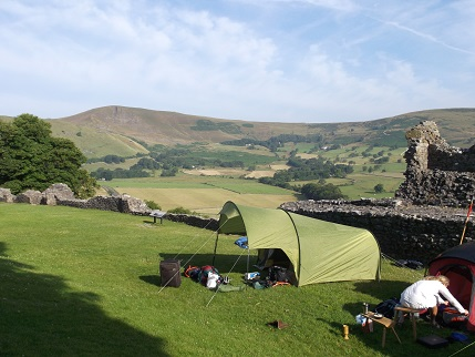 Peveril tent and view