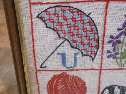 Vintage ABC embroidery- umbrella