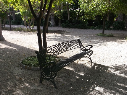 Spain July 2015 Elche park bench