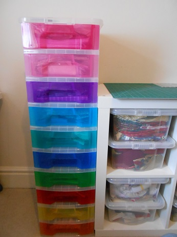 new sewing room - coloured boxes
